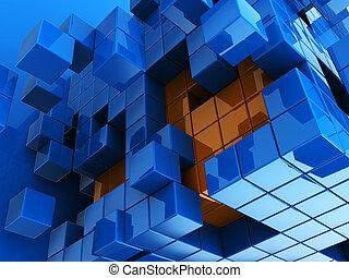 blue and orange cubes background