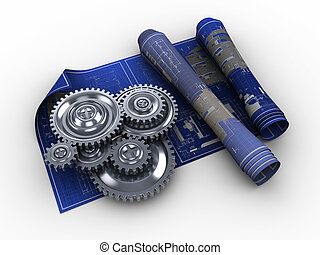 abstract 3d illustration of blueprints and gear wheels, engineering concept