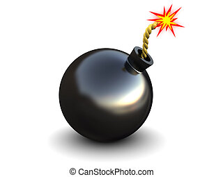 bomb - abstract 3d illustration of bomb with fire, over...