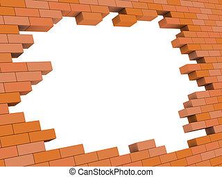 brick wall hole - abstract 3d illustration of brick wall...