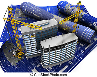 construction - abstract 3d illustration of building...