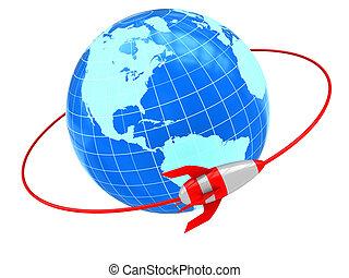 abstract 3d illustration of cartoon rocket on orbit around earth globe
