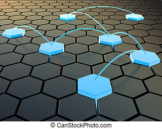 cellular network - abstract 3d illustration of cellular...