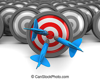 right target - abstract 3d illustration of choice right...