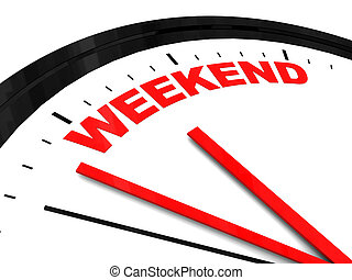 abstract 3d illustration of clock dial with text 'weekend' on it