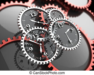 time - abstract 3d illustration of clock gears, time concept