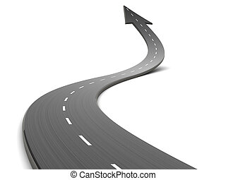 road forward - abstract 3d illustration of curved road ...