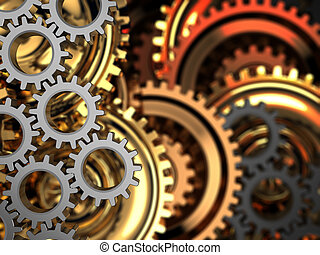 gear wheels background - abstract 3d illustration of dark...