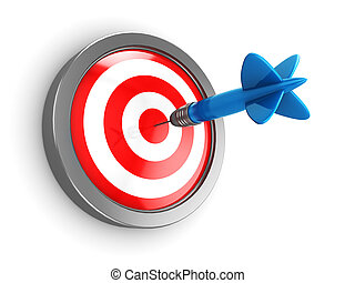 abstract 3d illustration of dart hit target