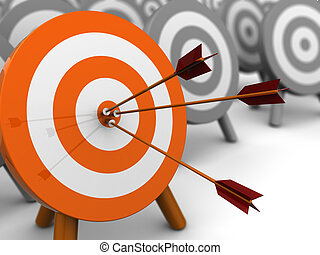 right target - abstract 3d illustration of darts target, ...