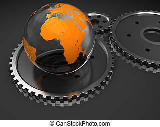 abstract 3d illustration of earth and gear wheels over dark background
