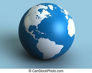 earth globe - abstract 3d illustration of earth globe, blue ...