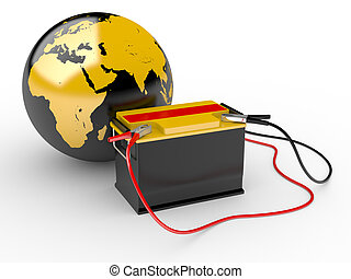 abstract 3d illustration of earth globe with big battery