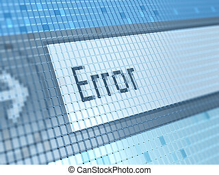 abstract 3d illustration of error message on monitor closeup