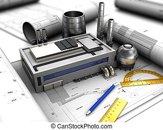 factory design - abstract 3d illustration of factory design...