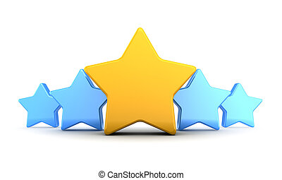 stars rating - abstract 3d illustration of five stars rating...