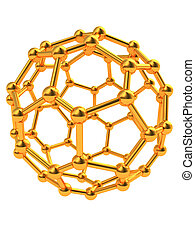 molecular structure - abstract 3d illustration of golden ...