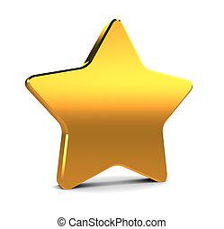 golden star - abstract 3d illustration of golden star over...