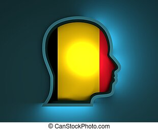 abstract 3d illustration of head silhouette with Belgium flag