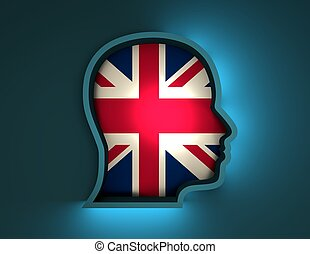 abstract 3d illustration of head silhouette with Britain flag
