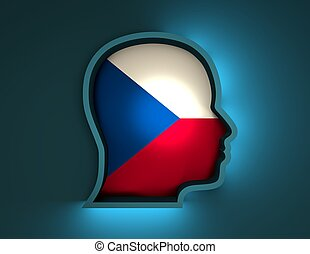 abstract 3d illustration of head silhouette with Czech flag