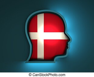 abstract 3d illustration of head silhouette with Denmark flag