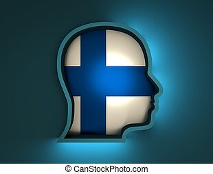 abstract 3d illustration of head silhouette with Finland flag