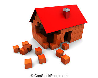 abstract 3d illustration of house construction, over white background