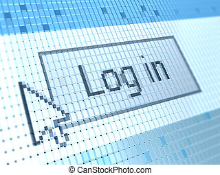 log in button - abstract 3d illustration of log in button on...
