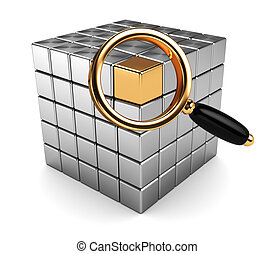 searching - abstract 3d illustration of magnify glass and...
