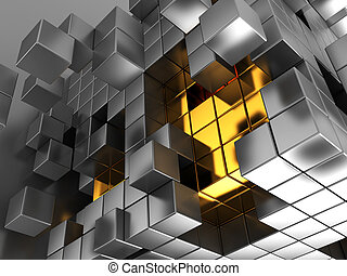 cubes background - abstract 3d illustration of metal cubes...
