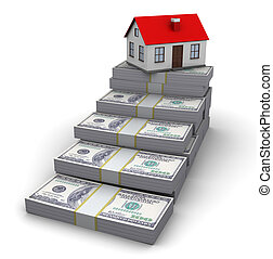 stairway to house - abstract 3d illustration of money ...