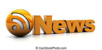 abstract 3d illustration of news feed symbol, over white background