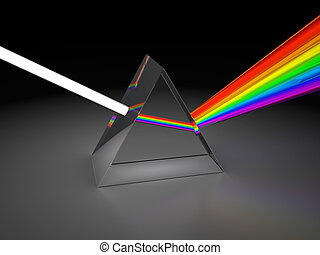 prism - abstract 3d illustration of prism dividing light
