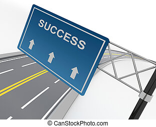 abstract 3d illustration of road sign with success label