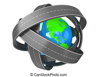 roads around earth - abstract 3d illustration of roads ...