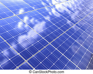 solar panel - abstract 3d illustration of solar panel...