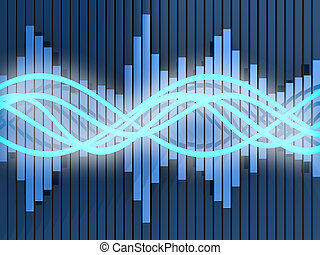 abstract 3d illustration of sound waves and spectrum