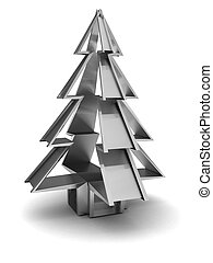 steel christmas tree - abstract 3d illustration of steel...