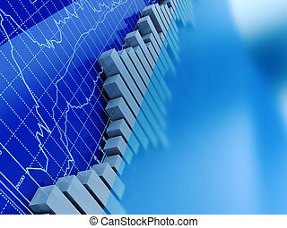 stock trading graphs - abstract 3d illustration of stock ...