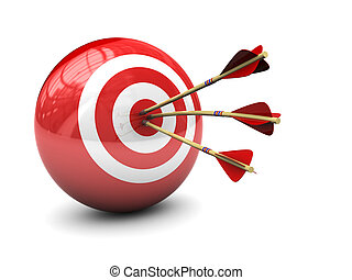 target - abstract 3d illustration of three arrows in target