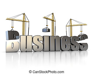 building business - abstract 3d illustration of three cranes...