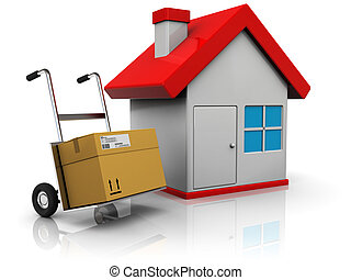 delivery to home - abstract 3d illustration package delivery...