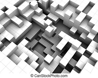 white cubes background - abstract 3d illustratioon of white...