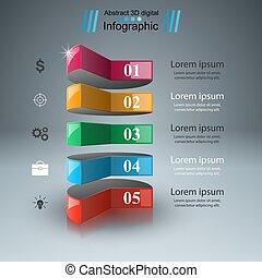 abstract, 3d, infographic., illustratie, digitale