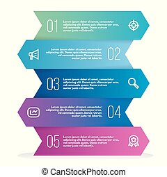 Abstract 3D infographic template with a five steps for success. Business template with options for diagram or web design