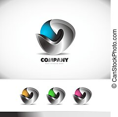 Abstract 3d logo design corporate