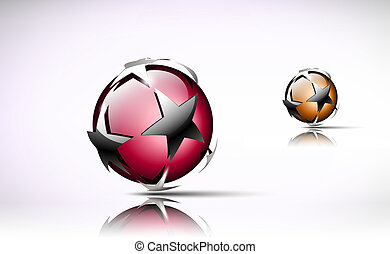 Glossy sphere with silver stars.