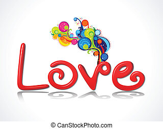 abstract 3d love text with colorful