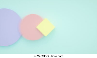 Abstract 3d motion graphic, background with moving geometric shapes